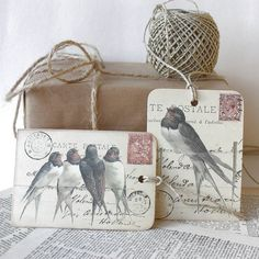mixed set of six 'swallow' gift tags by claryce design   notonthehighstreet.com