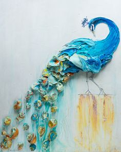 """48""""x60"""" Acrylic on Panel - Sculpted Peacock - Artist, Justin Gaffrey"""
