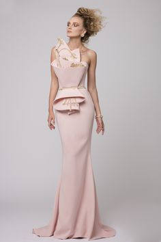 """Azzi & Osta Couture Fall/Winter 16/17   """"Promises Of Dawn""""    Pink, Dress, Strapless, Fishtail, Crepe, Hand Embroidery, Metallic Gold Thread"""