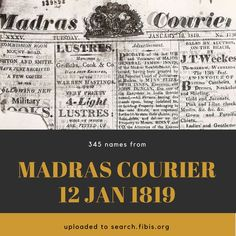 Madras Courier, Vol XXXV, Number 1736, January 12th 1819