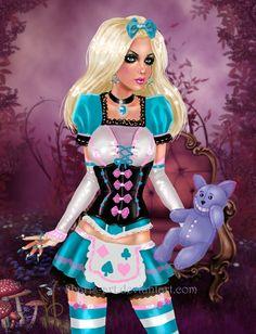 Alice in Glamourland by kharis-art.deviantart.com on @deviantART alice wonderland corset nails disney