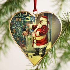Metal Vintage-Style Santa Heart Ornaments, Set of 3 | World Market
