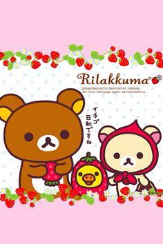 Rilakkuma Wallpaper Strawberries Classic San-X Kawaii Wallpapers Rilakkuma Wallpaper, Kawaii Wallpaper, Sanrio Characters, Cute Characters, Kawaii Cute, Kawaii Anime, Cute Kawaii Backgrounds, Cute Bento Boxes, Spring Wallpaper