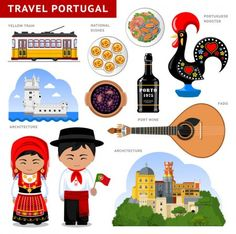 Travel to Portugal. Set of traditional cultural symbols cuisine architecture. A collection of colorful illustrations for the guidebook. Portugueses in national dress. Sintra Portugal, Visit Portugal, Portugal Travel, Deco Cafe, Day Trips From Lisbon, Portuguese Culture, World Thinking Day, Travel Words, My Heritage