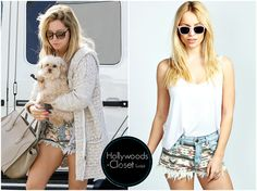 Ashley Tisdale | Los Angeles Ashley ran some errands around LA recently wearing these super cute Aztec Print Cut Off Denim Shorts. You can purchase these from Boohoo for $40.00 Buy these here