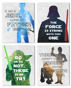 Star Wars, Set of Four Nursery Prints - Perfect for Your Baby& Nursery Décor or Give It As a Gift At Your Next Baby Shower! Star Wars Nursery, Star Wars Room, Star Wars Decor, Star Wars Set, Theme Star Wars, Star Wars Baby, Baby Nursery Decor, Nursery Prints, Boy Decor