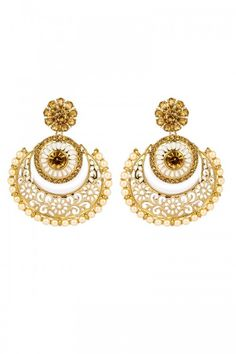 Buy Latest Fashionable earrings online for women at cheap price  http://www.andaazfashion.co.uk/jewellery/earrings/crystal-studded-jhumka-earrings-80739.html
