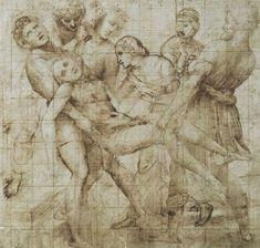 (Raphael) Raffaello Santi - Study for the 'Entombment' in the Galleria Borghese, Rome Juliette Aristides, Art Ninja, Caravaggio, The Masterpiece, Italian Artist, Old Master, Michelangelo, Renaissance, Vintage World Maps