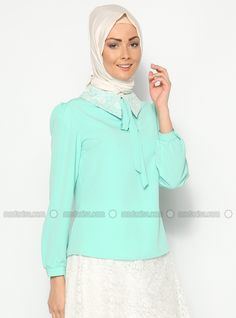 Collar Lace Shirt - Vert menthe - Ceren To Be