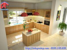 Tủ bếp gỗ sồi kết hợpđảo bếp sang trọng, hiệnđại