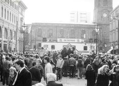 St Anns Square 1985 - Hundreds of people packed in the square enjoying a Radio 1 road show held in Manchester.