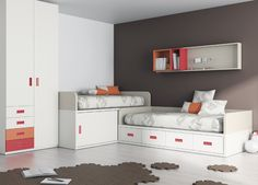 Kids Touch 15 Habitación juvenil Juvenil Camas Compactas y Nidos Camas compactas con cajones, con escritorio, estanterías y armario.