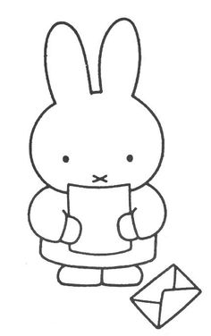 Miffy Read The Letter Elsa Beskow, Bunny Drawing, Patch Aplique, Miffy, Coloring Book Pages, Mail Art, Painting For Kids, Digital Stamps, Creative Gifts