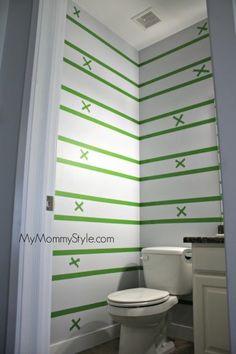 how to paint horizontal stripes, bathroom ideas, how to, painting, small bathroom ideas Striped Bathroom Walls, Small Bathroom Paint, Striped Room, Striped Walls, Bathroom Paint Colors, Bathroom Ideas, Small Bathrooms, Painting Horizontal Stripes, Paint Stripes