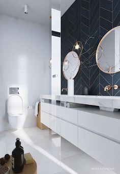 Glamorous and exciting luxury bathroom interior decor needs the perfect lighting. - Glamorous and exciting luxury bathroom interior decor needs the perfect lighting fixture. See our e - Bathroom Design Inspiration, Bad Inspiration, Bathroom Interior Design, Interior Decorating, Decorating Ideas, Decorating Bathrooms, Gold Interior, Luxury Interior Design, Interior Ideas