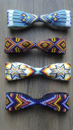 Native American Beaded Bow Tie On Deer Skin By