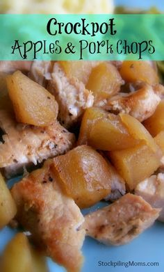 Crockpot Apples and Pork Chops - Only 6 ingredients in this flavorful dinner made in the slow cooker.  A must pin!