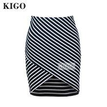 Kigo mujeres negro cruz delantero bodycon rayas falda de cintura alta mini  falda sexy falda lápiz · Pantalones ... dde137f00df