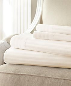 Another great find on #zulily! Ivory Hotel 5th Hampton Dobby Stripe Microfiber Sheet Set #zulilyfinds