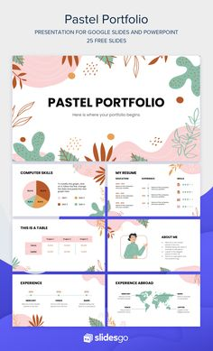 Showcase your work and skills in this Memphis-styled portfolio template for Google Slides and PowerPoint. Impress your recruiters! Creative Powerpoint Presentations, Powerpoint Slide Designs, Powerpoint Design Templates, Powerpoint Background Design, Presentation Design Template, Presentation Slides, E Commerce, Web Design, Grafik Design