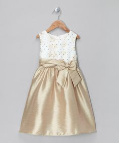 Take a look at this Gold & Ivory Sequin Dress - Toddler & Girls by Rare Editions on #zulily today!