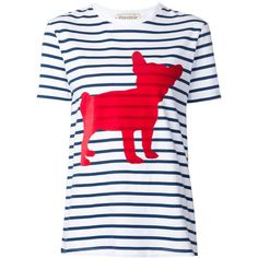 Etre Cecile Striped Dog Print Tee ($135) ❤ liked on Polyvore featuring tops, t-shirts, print, dog tees, red top, red striped t shirt, crew neck tee and red stripe t shirt