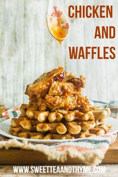 Homemade Chicken and Waffles is a true soul food brunch dish that everyone loves. My recipe includes juicy Southern fried chicken and fluffy waffles with an amazing sweet and spicy sauce made with maple syrup or honey. Fried Chicken And Waffles, Fried Chicken Recipes, Honey Sauce, Honey Butter, Butter Sauce, Sauce For Chicken, Honey Chicken, Brunch Dishes, Food Dishes