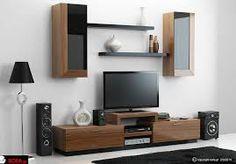 Αποτέλεσμα εικόνας για μοντερνες συνθεσεις τοιχου τηλεορασης Floating Nightstand, Sofa, Living Room, Chair, Wall, Tv Units, Furniture, Home Decor, Environment