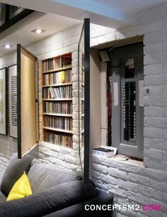 Good idea! storage behind wall art - link to 13 ways to organize your basement <3