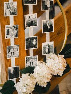 Cute way to display photos at wedding - photo collage on gold ring with white hydrangeas {Logan Clement} Sunset Wedding, Diy Wedding, Wedding Photos, Waterfall Wedding, Wedding Ideas, Wedding Inspiration, Wedding Reception Decorations, Wedding Centerpieces, Shower Centerpieces