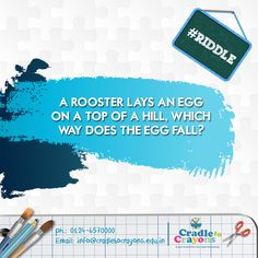 A rooster lays an egg on a top of a hill, which way does the egg fall? #Riddle #puzzle #kids #children #child #parents #toddler #kindergarten http://cradletocrayons.edu.in/