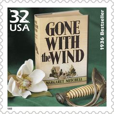 "Margaret Mitchell's 1936 novel, ""Gone With the Wind,"" portrayed the Old South during the Civil War and Reconstruction. It was a number one bestseller for two years and continues to be sold throughout the world. It is number 53 on EW's 100 Greatest Books list. This stamp was issued in 1998."