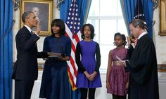 Sunday, January 20, 2013 at 11:55 AM (eastern time) - US President Barack Obama takes the oath of office from Supreme Court Chief Justice John Roberts.  The President's 2nd term just started at noon today.  The President used Mrs. Obama's grandparent's Bible for this private ceremony.