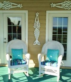 mermaid wall decor porch  Note: There are also ads on this web page for many great coastal home decor sources in addition to Island Creek Designs.