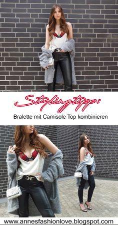 ROSE BRALETTE, LEATHER PANTS, OVERSIZED CARDIGAN & HIGH HEELS