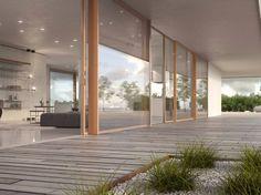 Porte-fenêtre levant-coulissante en bois avec double vitrage WOODEN SKYLINE…
