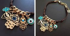 Handmade Multi Charm Fatima Hand/Hamsa and Turquoise Evil Eye BraceletGreat for stacking with other charm bracelets or worn on its own.Color: brown, gold and turquoise