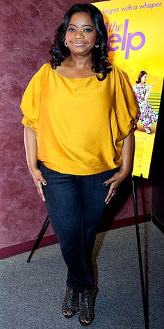 Octavia Spencer goes casual in a bright blouse and dark denim