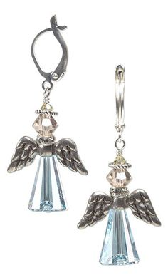 Angel Wing Earrings with Swarovski Crystal Beads and Antiqued Pewter Beads by Jamie Smedley. #angels  #crystal