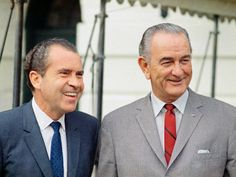 Johnson, who didn't visibly age too much in his five-year tenure, joins Nixon shortly after Nixon is elected president in November 1968.