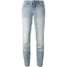 Dolce & Gabbana distressed jeans (24.705 RUB) ❤ liked on Polyvore featuring jeans, blue, ripped patched jeans, distressing jeans, distressed jeans, destructed jeans and destroyed jeans