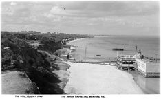 State Library Victoria - The Beach And Baths, Mentone, Vic. Melbourne Beach, Melbourne Victoria, Victoria Australia, Melbourne Australia, Mentone Hotel, Mentone Beach, Beach Pictures, Old Pictures, Old Photos