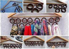 comment faire un support à foulards : prendre un support en bois + des anneaux pour rideau de douche