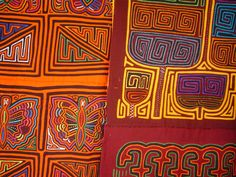Molas are native textile art forms of the indigenous Guna (Kuna) of Panama. They use reverse appliqué to produce beautiful, colorful handcrafts using traditional designs Colombian Culture, Colombian Art, Art Textile, Textile Patterns, Textiles, Art Tribal, Reverse Applique, Meet The Artist, Tropical Birds