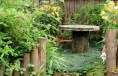 Table tronc d'arbre et bobine de chantier