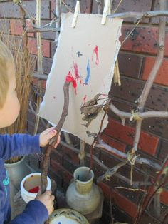 Exploring painting techniques by using sticks or other natural resources is fun and easier to clean up. Nursery Activities, Nature Activities, Toddler Activities, Reggio Emilia, Art For Kids, Crafts For Kids, Creative Area, Tree Study, Creative Curriculum