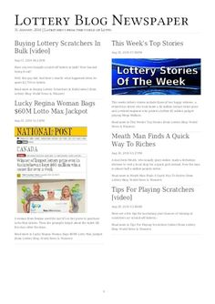 Your weekly Lottery Blog Newspaper for 31st August is here. Lottery winners stories and other tips and updates.
