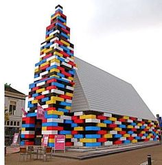 Unusual church, this temporary structure in the Netherlands. It's built not out of LEGO bricks, but Legioblocks — concrete blocks made to resemble LEGO bricks. Michiel de Wit and Filip Jonker erected it for the Grenswerk Festival in the city of Enschede. Unusual Buildings, Interesting Buildings, Amazing Buildings, Modern Buildings, Church Architecture, Unique Architecture, Cubist Architecture, Church Building, Lego Building