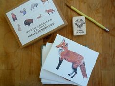 North American Animal Cards (Set of 8). $16.00, via Etsy.