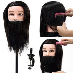"Neverland Beauty Man Mannequin Head 14"" 100% Real Human Hair With Beard Cosmetology Hairdressing Training Manikin Doll (Table Clamp Holder Included)"